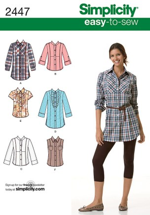 Shirt Sewing Pattern Womens Shirt Easy Sewing Pattern 2447 Simplicity Easy To Sew