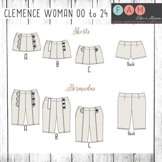 Shorts Sewing Pattern Filles Maman Clemence Shorts For Women Digital Pattern