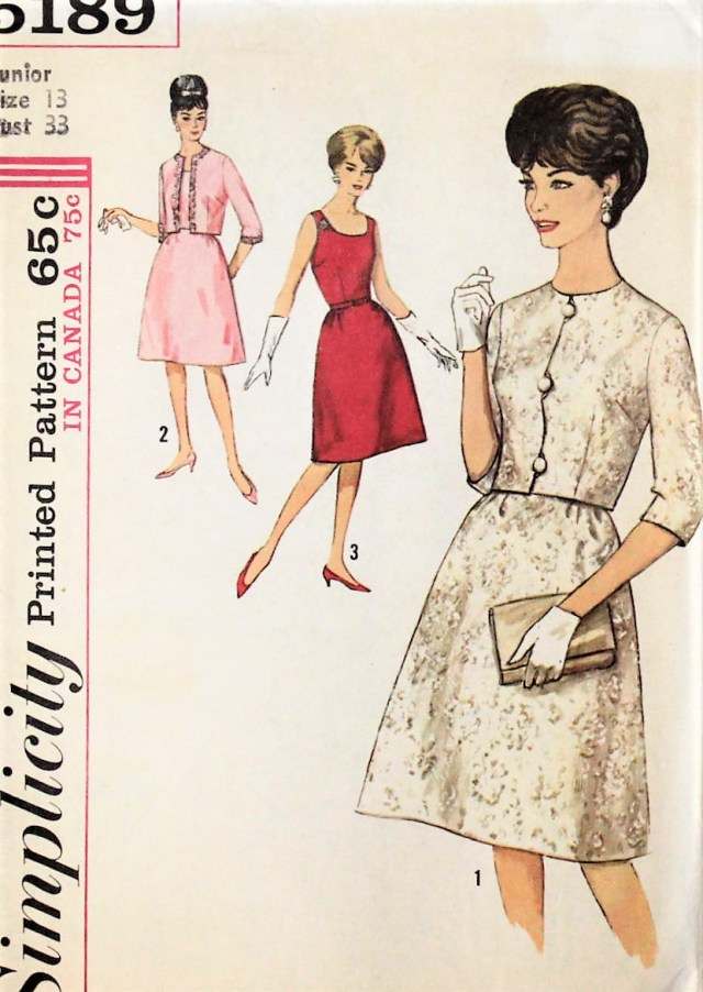 Simplicity Sewing Patterns Canada 1960s Classy Evening Dress And Jacket Pattern Simplicity 5189