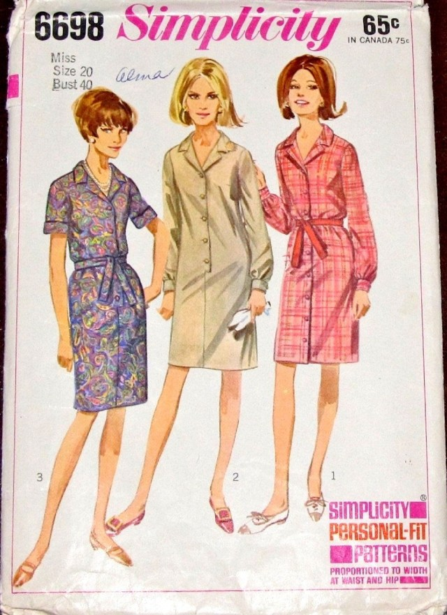Simplicity Sewing Patterns Canada Vintage 1960s Sewing Pattern Simplicity 6698 Shirt Coat Dress Button