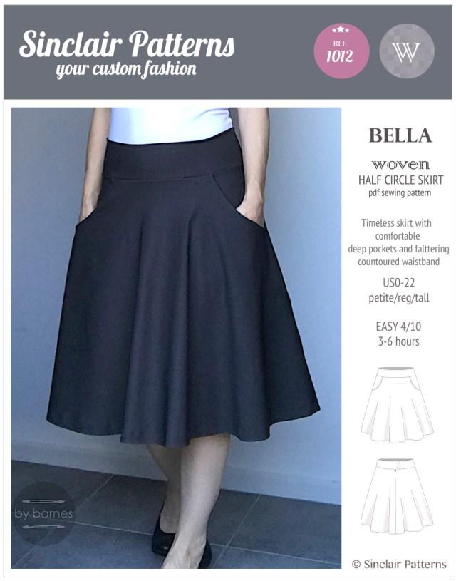 Skirt Sewing Patterns Bella Half Circle Woven Skirt With Pockets Pdf Sinclair Patterns