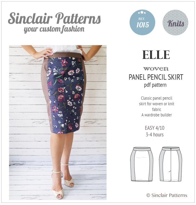 Skirt Sewing Patterns Elle Classic Wovenknit Panel Pencil Skirt Pdf Sinclair Patterns