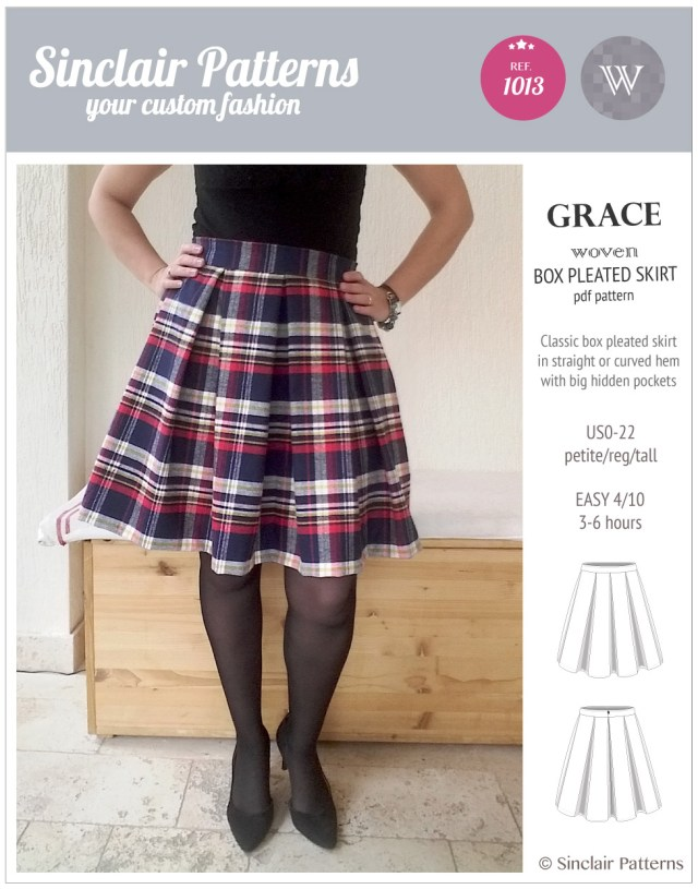 Skirt Sewing Patterns Grace Box Pleated Lined Woven Skirt With Pockets Pdf Sinclair