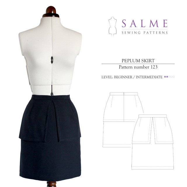 Skirt Sewing Patterns Salme Sewing Patterns 123 Peplum Skirt Downloadable Pattern