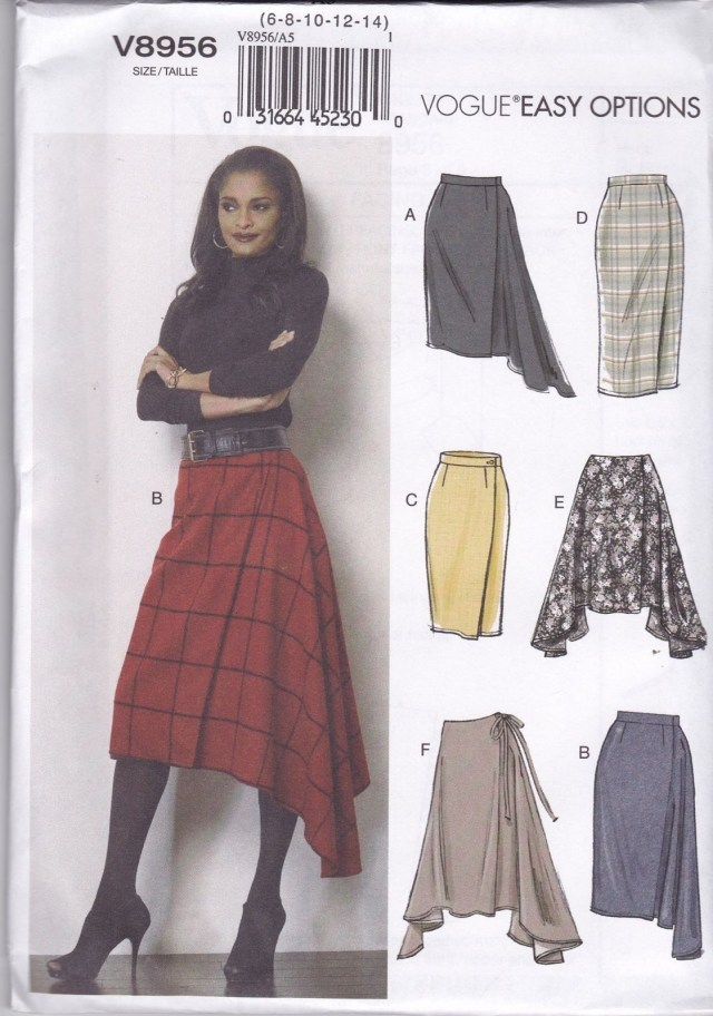 Skirt Sewing Patterns Vogue Sewing Pattern Misses Semi Fitted Wrap Skirt Buttons Sizes 6