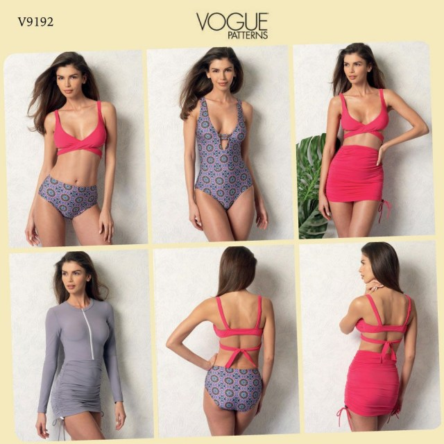 Swimsuit Sewing Patterns Vogue Pattern V9192 Misses Wrap Top Bikini One Piece Swimsuits