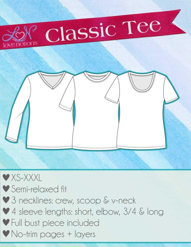 T Shirt Sewing Pattern Classic Tee Shirt Xs Xxxl Love Notions Sewing Patterns