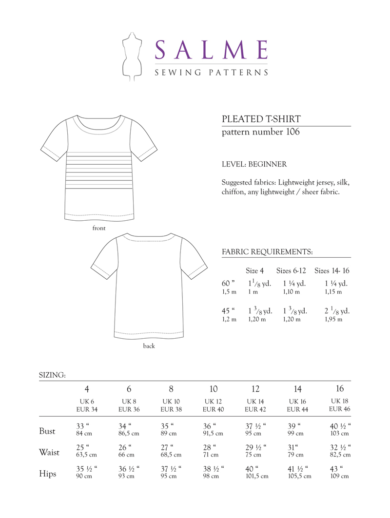 T Shirt Sewing Pattern Salme Sewing Patterns 106 Pleated T Shirt Downloadable Pattern
