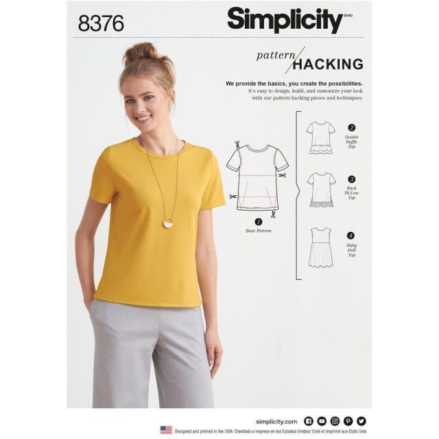 T Shirt Sewing Pattern Simplicity Sewing Pattern Design Hacking Womens Knit Top T Shirt Xxs