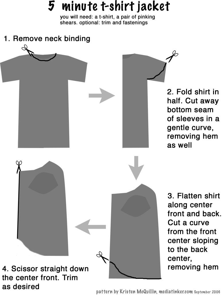 T Shirt Sewing Pattern Turn Your T Shirt Into A Jacket Sewing Diy Clothes Sewing