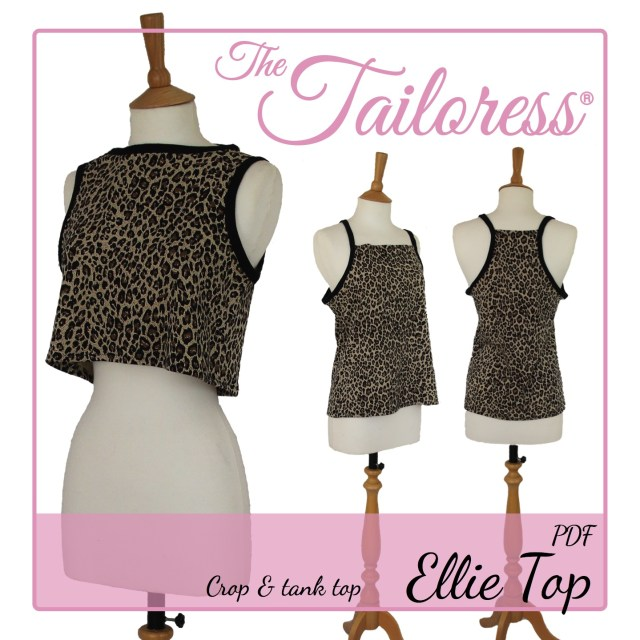 Tank Top Sewing Pattern Ellie Easy Fit Tank Crop Top Pdf Sewing Pattern The Tailoress