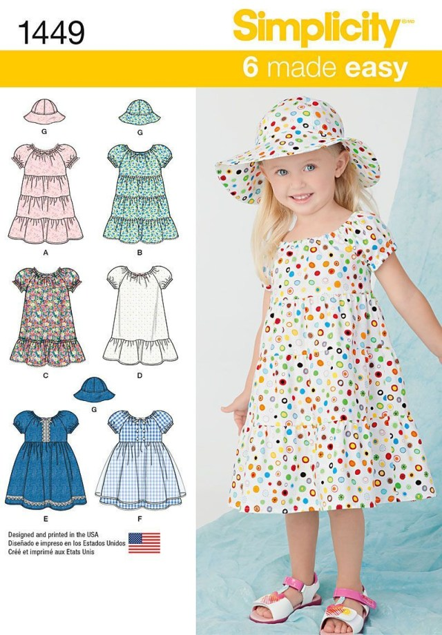 Toddler Sewing Patterns Simplicity Pattern 1449bb 2 3 4 Toddlers Dresses Sewing