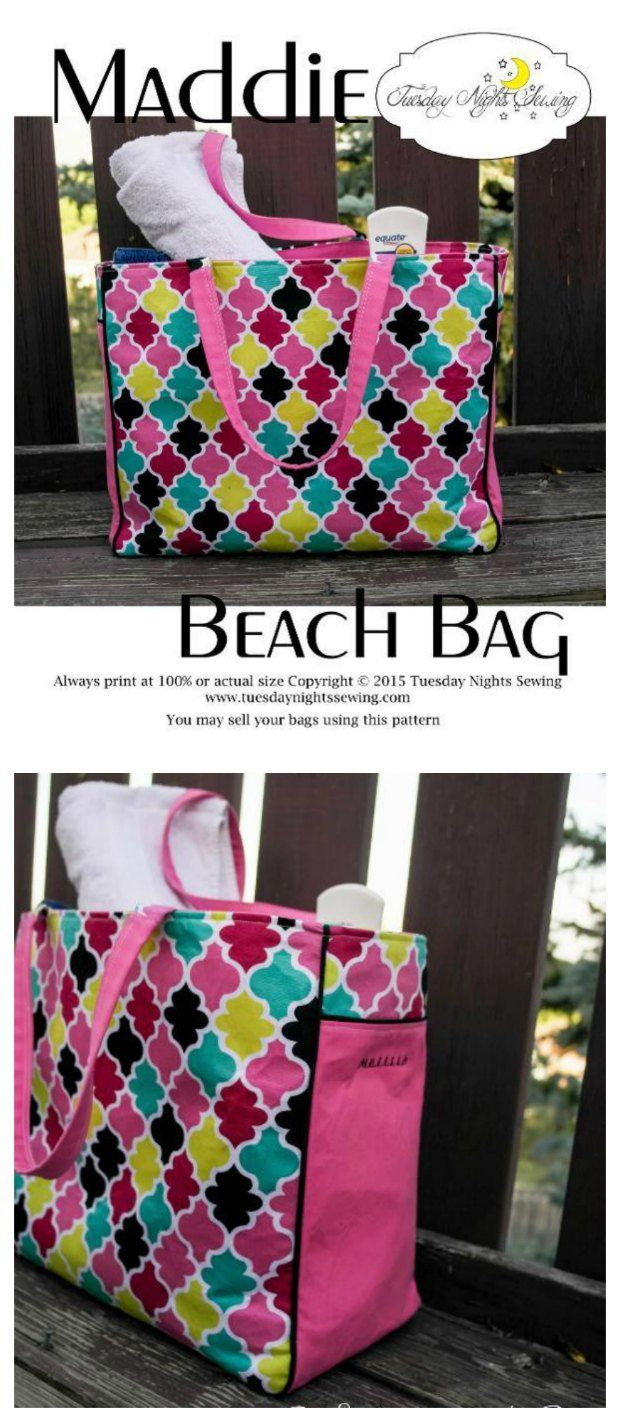 Tote Bag Sewing Pattern Maddie Beach Bag Free Bags To Sew Pinterest Sewing  Bag 0e3c242280