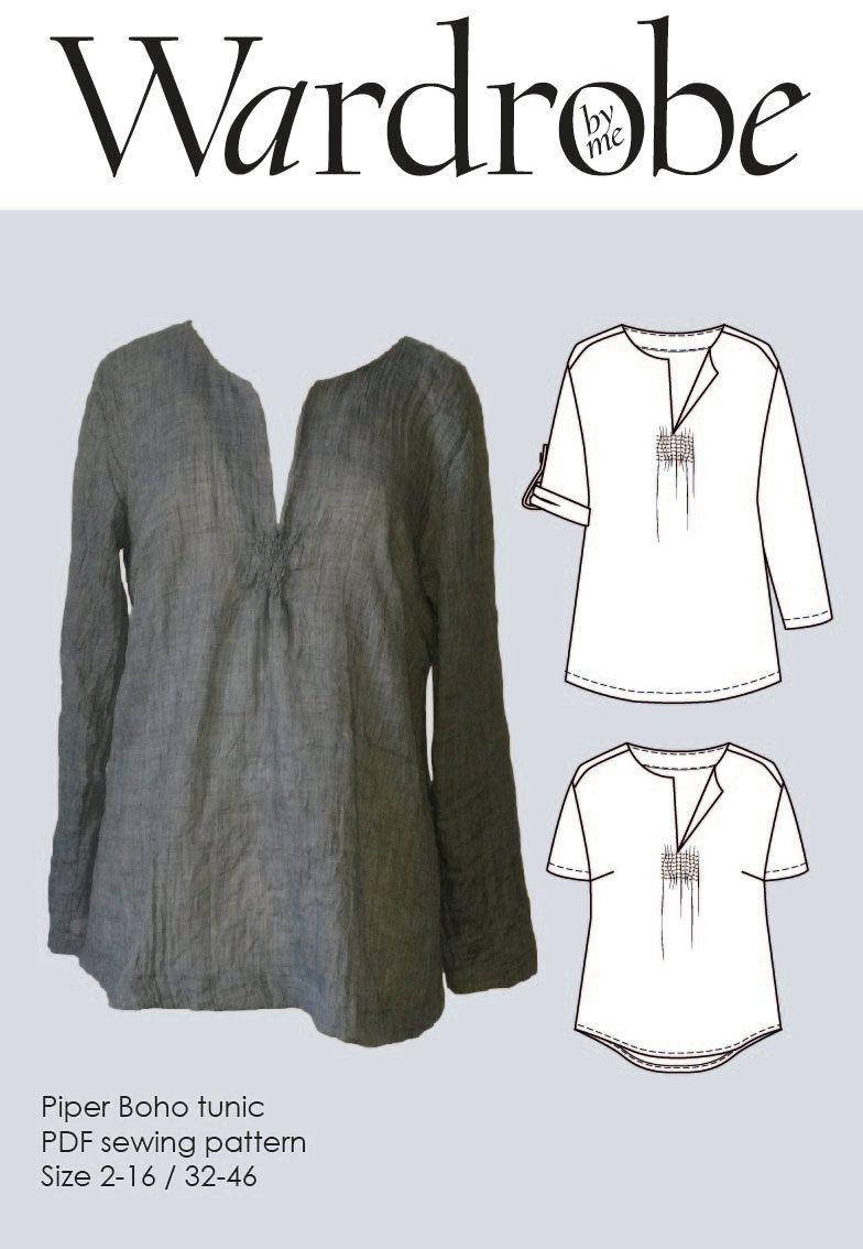 Tunic Sewing Pattern Boho Tunic Pattern Sewing Patterns Tunic Pdf Pattern For Women