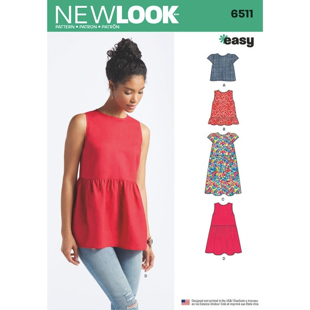 Tunic Sewing Pattern Womens Tops With Length And Sleeve Variations New Look Sewing