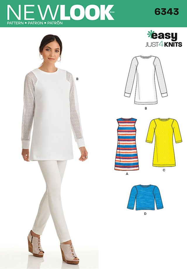 Tunic Sewing Patterns New Look 6343 Misses Knit Tunic In Two Lengths And Top