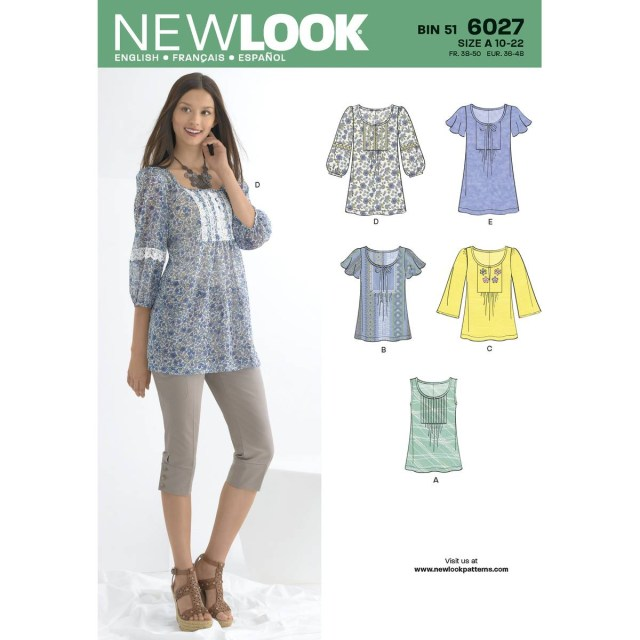 Tunic Sewing Patterns New Look Womens Tunics And Tops Sewing Pattern 6027 Hobcraft