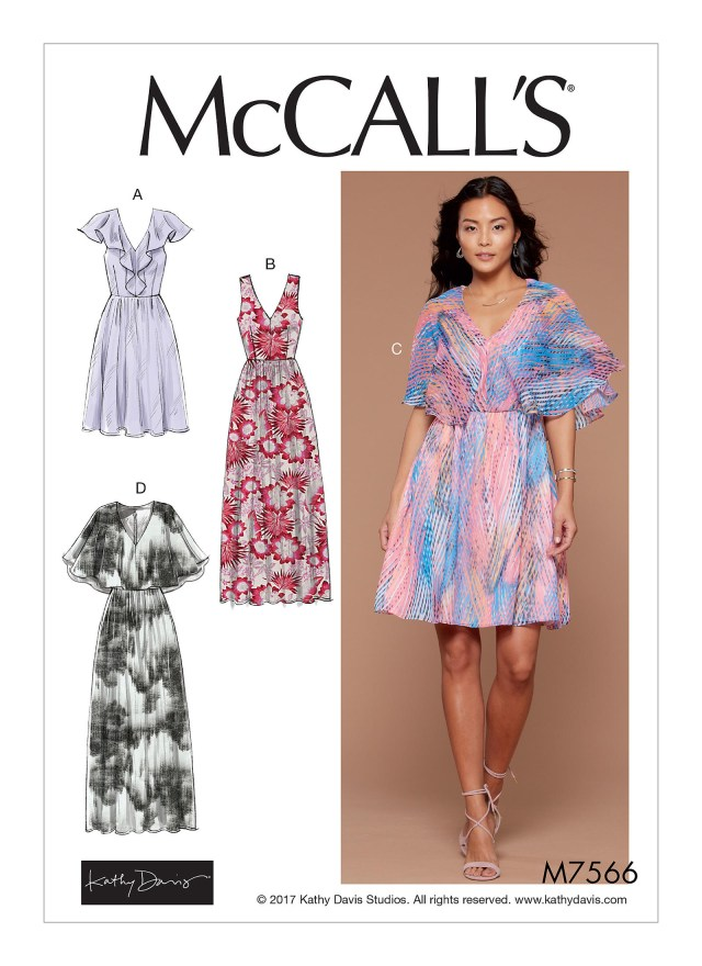 V Neck Dress Sewing Pattern Mccalls 7566 Misses V Neck Ruffle And Cape Style Dresses