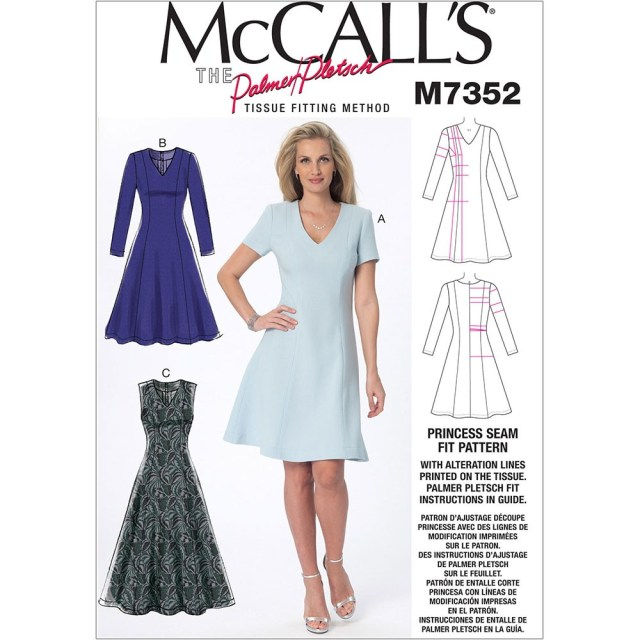V Neck Dress Sewing Pattern Misses Jewel Or V Neck Fit And Flare Dresses Mccalls Sewing Pattern