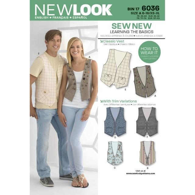 Vest Patterns To Sew New Look Men And Womens Classic Vest Sewing Pattern 6036 Hobcraft