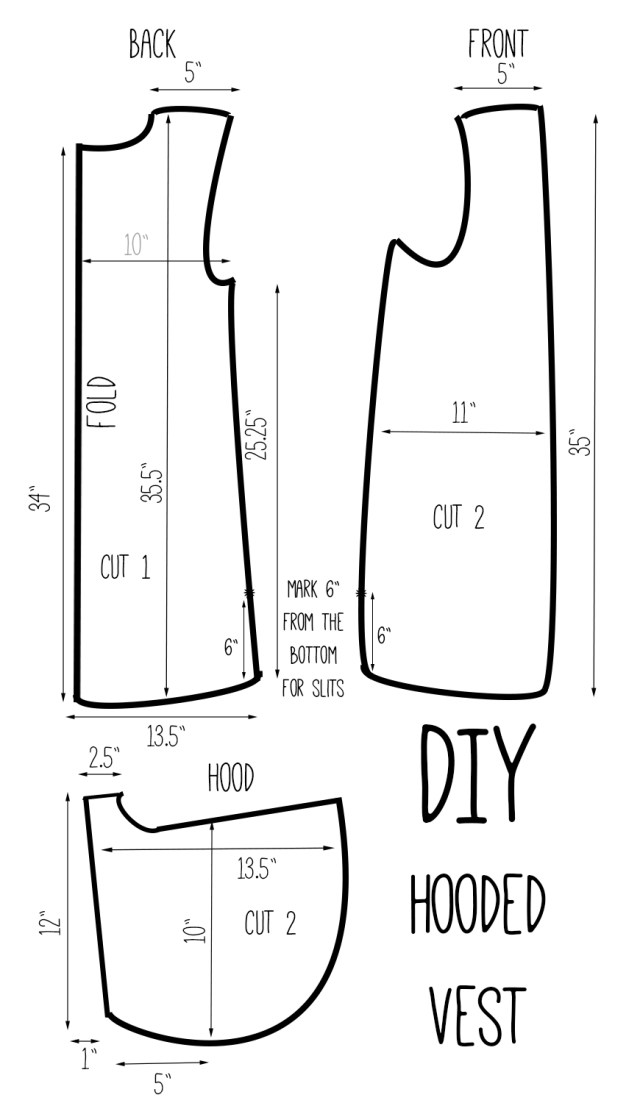 Vest Sewing Pattern Diy Hooded Vest Drafting Pinterest Sewing Sewing Projects I
