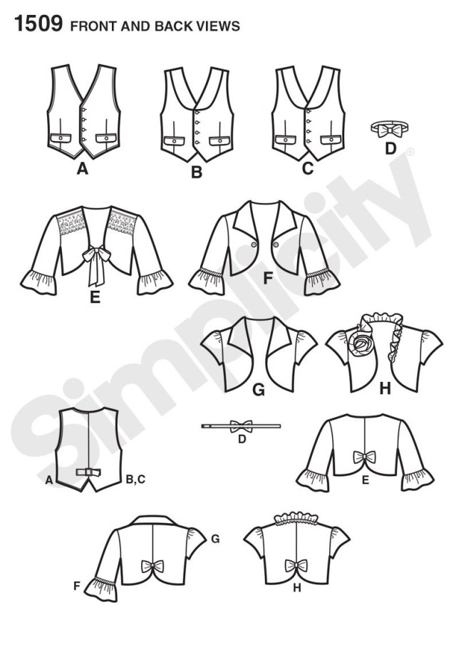 Vest Sewing Pattern Simplicity 1509 Childs Vest Bolero And Bow Tie