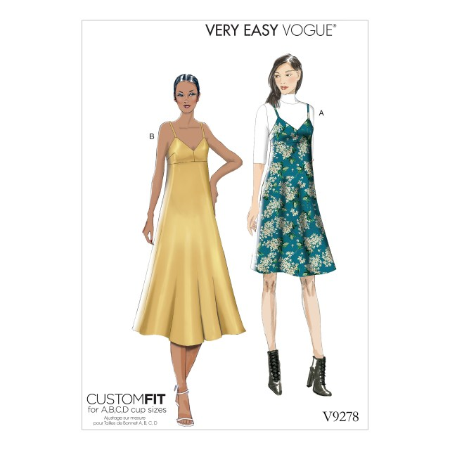 Vogue Sewing Patterns Vogue Patterns 9278 Misses Slip Style Dress With Back Zipper