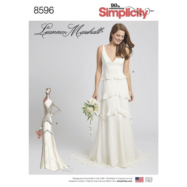 Wedding Dress Sewing Pattern Simplicity 8596 Misses Gown With Train Option Bridal Dresses