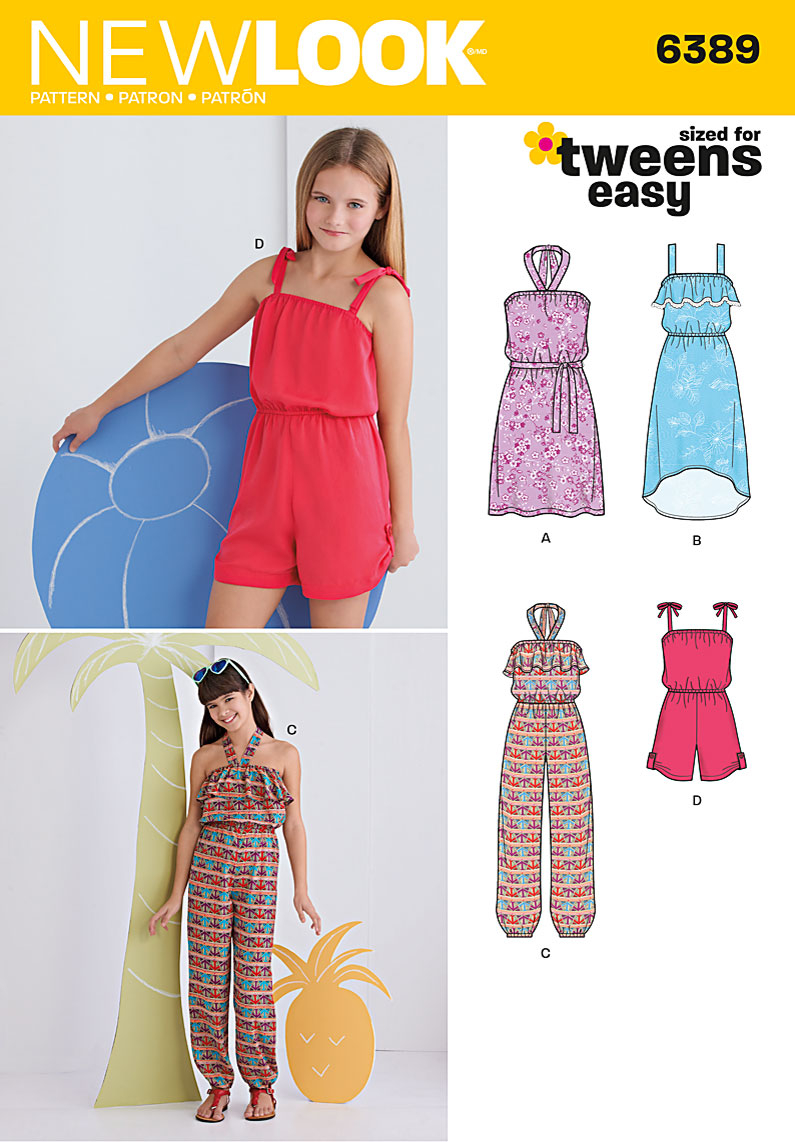 Womens Romper Sewing Pattern New Look 6389 Girls Easy Jumpsuit Romper And Dresses