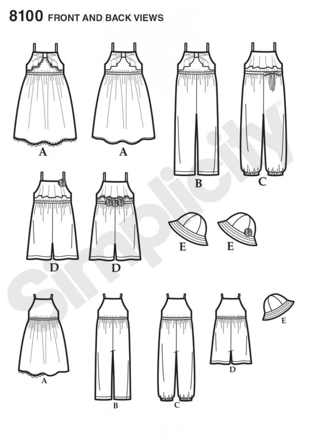 Womens Romper Sewing Pattern Simplicity Sewing Pattern 8100 Childs Jumpsuit Romper Dress And