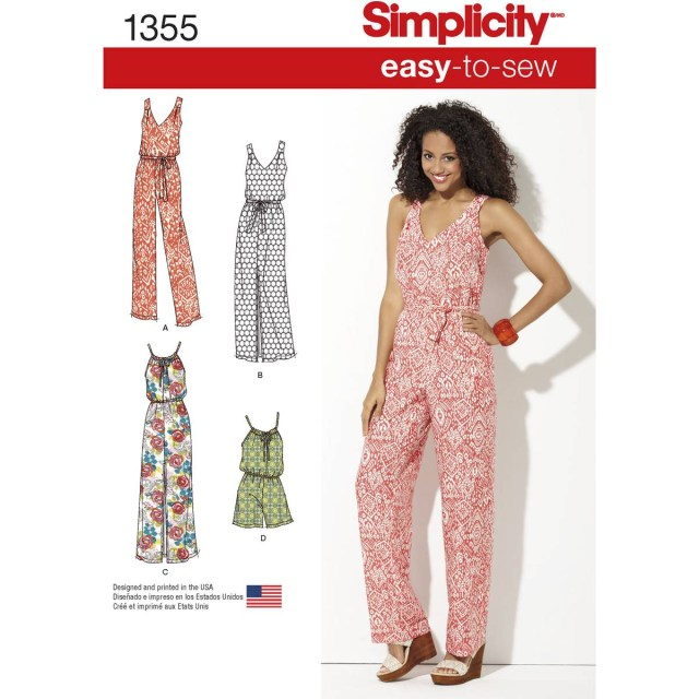 Womens Sewing Patterns Simplicity Womens Jumpsuit Sewing Pattern 1355 Hobcraft