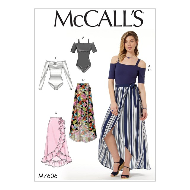 Wrap Skirt Sewing Pattern Mccalls Sewing Pattern M7606 Misses Off The Shoulder Bodysuits