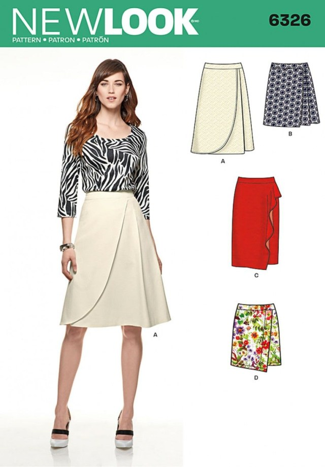 Wrap Skirt Sewing Pattern New Look 6326 Misses Mock Wrap Skirt With Front And Length