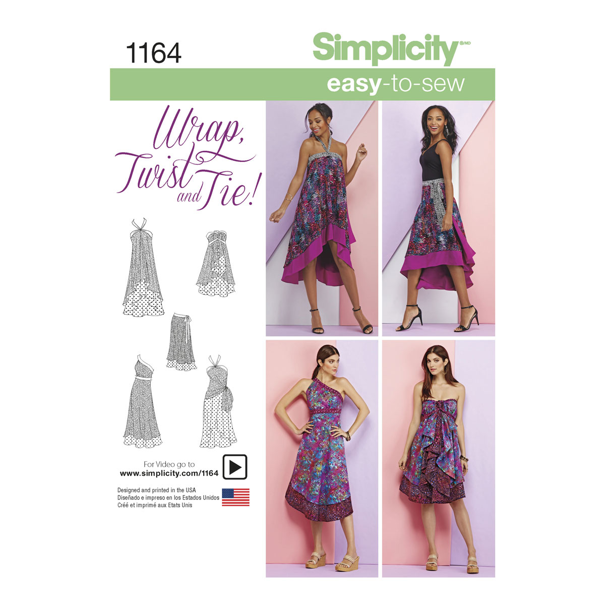 Wrap Skirt Sewing Pattern Simplicity 1164 Misses Double Layer Wrap Skirt Sewing Pattern