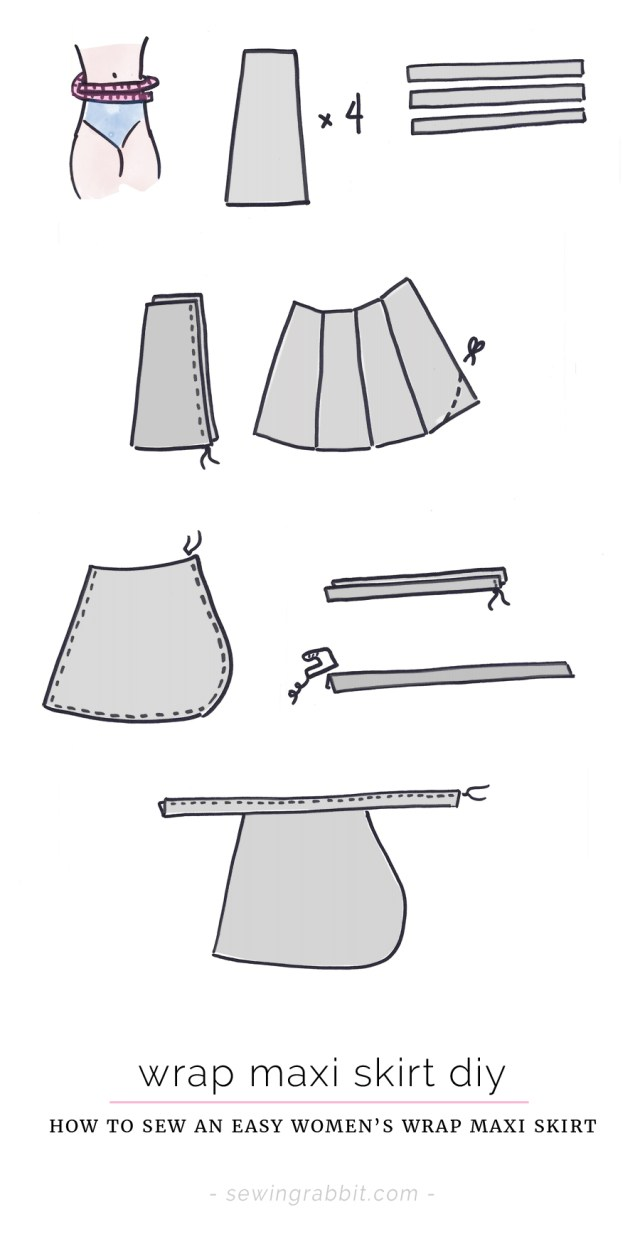 Wrap Skirt Sewing Pattern Wrap Maxi Skirt Diy The Sewing Rabbit