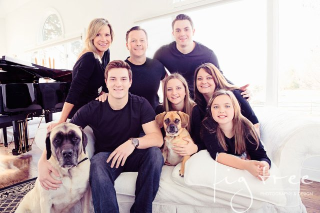 Downingtown family portrait with dogs - backlight.