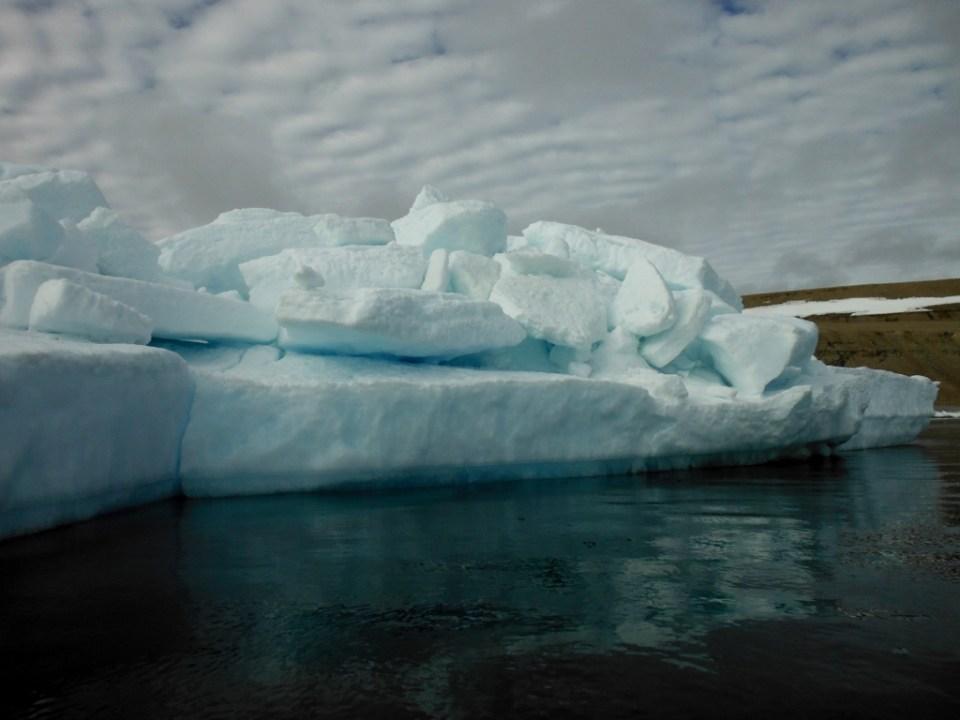 Fury Beach ice pile; we anchor behind this.