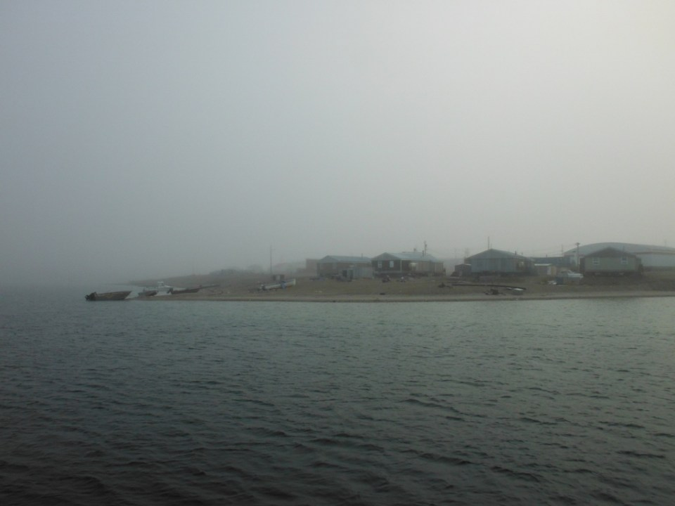 Gjoa Haven emerges from Fog.