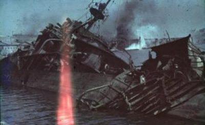 Wrecked Soviet destroyer