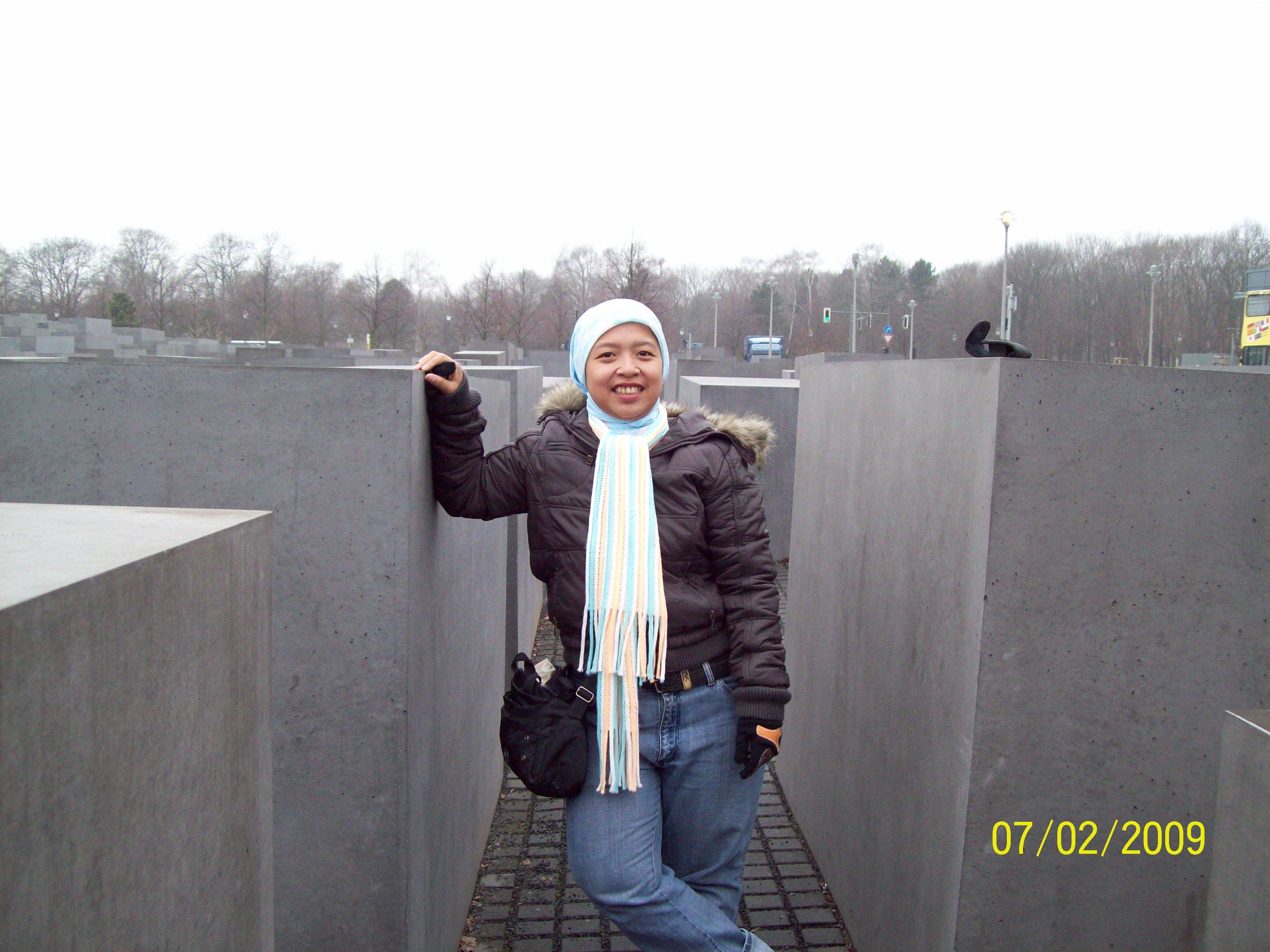 Ririn at the Holocaust Memorial in Berlin