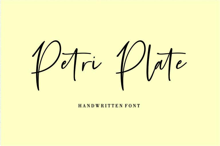 Petri Plate - Handwritten Script Font