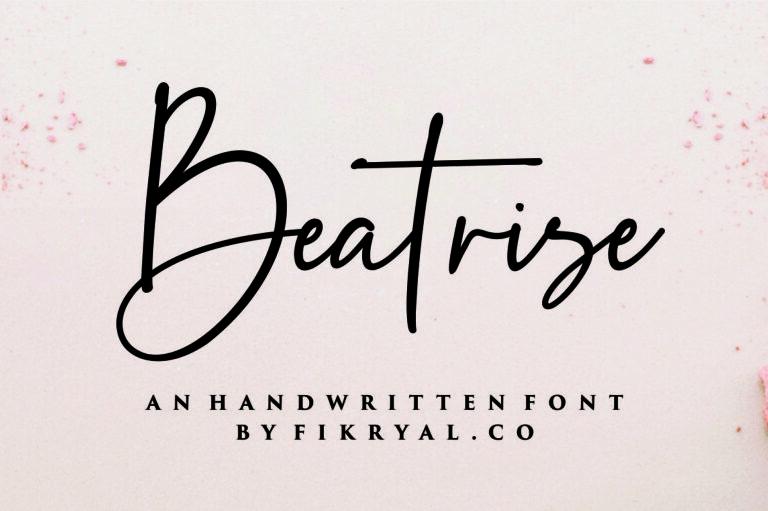 Beatrise- Handwritten Script Font