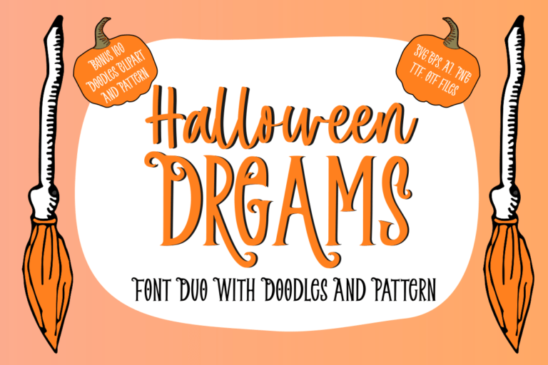 Halloween Dreams | Font Duo With Doodles, Clipart & Pattern