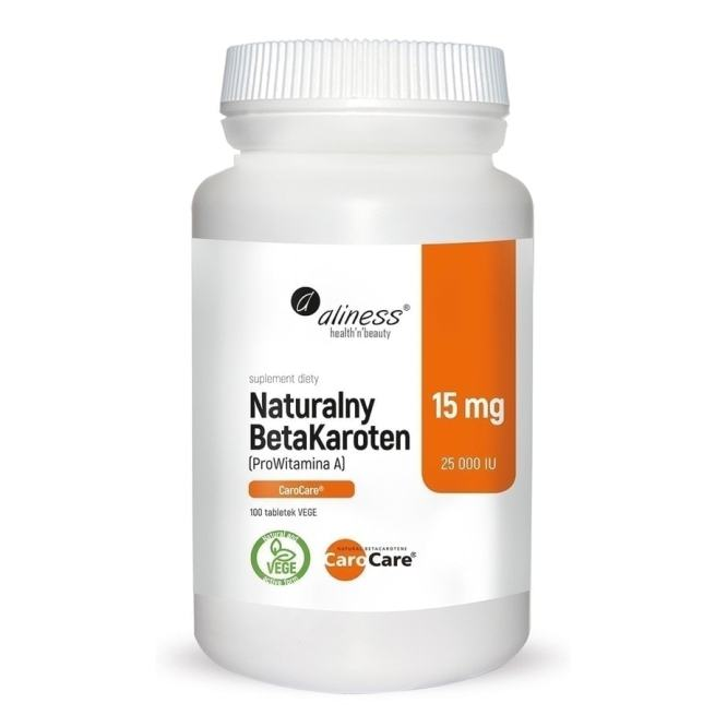 Naturalny Beta Karoten 15mg Aliness 100 tabletek vege caps wegańskie