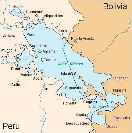 Lago TITICACA, gigantesco, dulce, esmeradamente cuidado, compartido por Bolivia y Perú.