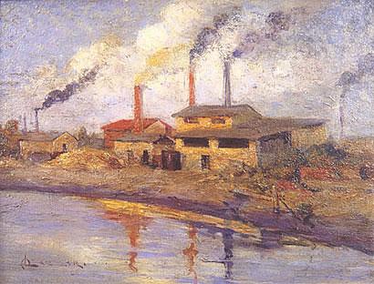 """Alfredo Lazzari: """"Fábricas sobre el Richuelo"""", óleo sobre tela, 1920."""