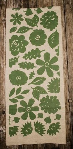 châle pure laine imprimé teinture végétale fleur vert