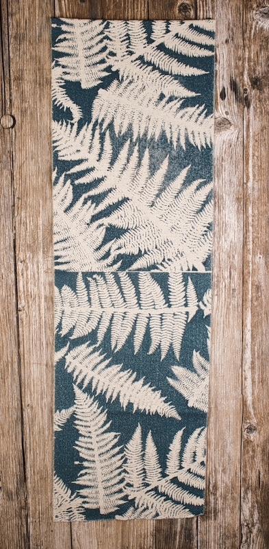 châle pure laine imprimé teinture végétale bleu indigo fougère