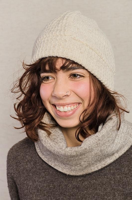 bonnet pure laine blanc