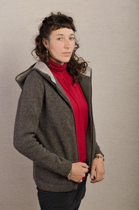 veste laine marron femme chaude et confortable